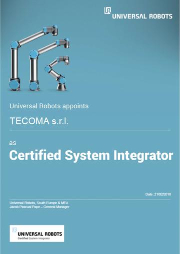 Tecoma è Certified System Integrator per Universal Robot